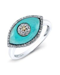 Anne Sisteron | 14kt White Gold Blue Topaz Diamond Evil Eye Ring | Lyst