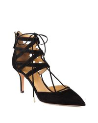 Aquazzura | Black Belgravia Suede Lace-up Pumps | Lyst