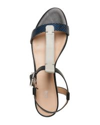 HUGO - Blue Sandals In Leather With Python Embossing: 'verine' - Lyst