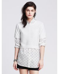 Banana Republic | White Ottoman-stripe Cropped Pullover | Lyst