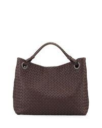 Bottega Veneta - Black Intrecciato Medium Shoulder Bag - Lyst