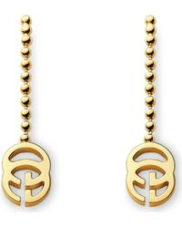 Gucci | Yellow Running G 18Ct Gold Drop Earrings - For Women | Lyst