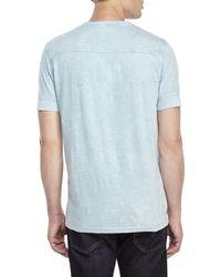 DKNY - Blue Acid Wash Slub Henley for Men - Lyst