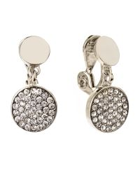 Ak Anne Klein | Metallic Silver-Tone Pavã© Disc Clip-On Earrings | Lyst