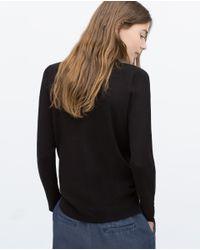 Zara | Black Round Neck Cardigan | Lyst