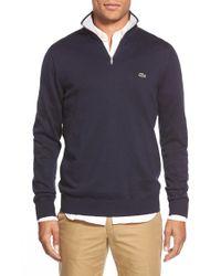 Lacoste - Blue Quarter Zip Pullover Sweater for Men - Lyst