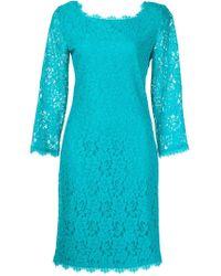 Diane von Furstenberg - Blue Lace Shift Dress - Lyst