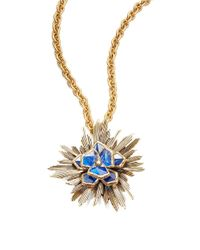 Oscar de la Renta | Blue Wildflower Pendant Necklace | Lyst