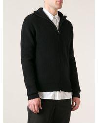 Ann Demeulemeester - Black Ribbed Knit Cardigan for Men - Lyst