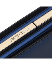 Jimmy Choo | Blue Tux Metallic Denim Mirror Leather And Suede Clutch Bag | Lyst