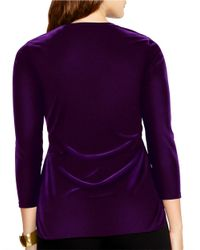 Lauren by Ralph Lauren | Purple Plus Keyhole Jersey Top | Lyst