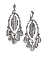 ABS By Allen Schwartz | Metallic Dark & Stormy Teardrop Chandelier Earrings | Lyst