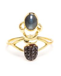 Daniela Villegas - Metallic Diamond And Alexandrite Beetle Ring - Lyst