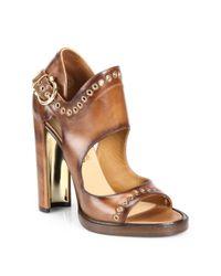Ferragamo - Brown Narny Grommet Leather Sandals - Lyst