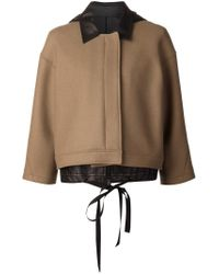 Vera Wang - Brown Structured Layered Jacket  - Lyst