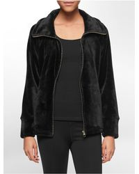 Calvin Klein - Black White Label Performance Faux Mink Jacket - Lyst