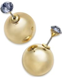 Macy's - Metallic Gold-tone Crystal And Ball Front-back Earrings - Lyst