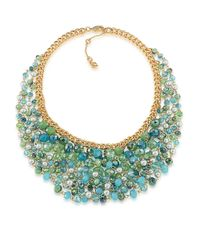 Carolee | Green Silver-Tone Drama Cluster Statement Necklace | Lyst