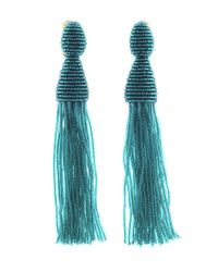 Oscar de la Renta | Blue Teal Long Beaded Tassel Earrings | Lyst