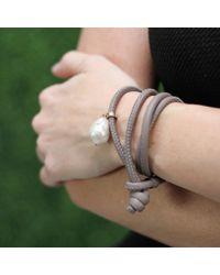 Mizuki | Gray White Pearl Wrap Bracelet | Lyst