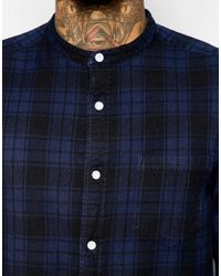 ASOS | Blue Check Shirt In Super Longline With Grandad Collar In Long Sleeves | Lyst
