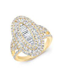 Anne Sisteron - 14kt Yellow Gold Baguette Diamond Era Ring - Lyst