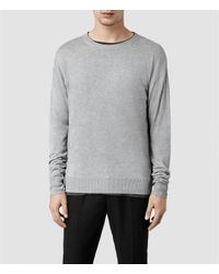 AllSaints | Gray Raeger Crew Sweater for Men | Lyst