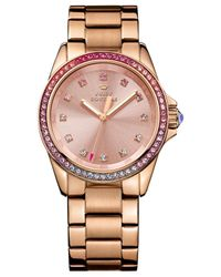 Juicy Couture - Pink Women's Stella Rose Gold-tone Stainless Steel Bracelet Watch 36mm 1901207 - Lyst