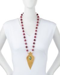 Devon Leigh - Red Station Necklace With Gold-plated Pendant - Lyst