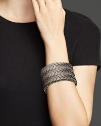 Roberto Coin - Gray Sterling Silver And Ruthenium Wide Cuff - Lyst