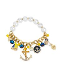 Betsey Johnson - Metallic Goldtone Anchor Charm and Faux Pearl Stretch Bracelet - Lyst