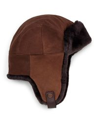 UGG - Brown Shearling Fur Trapper Hat - Lyst