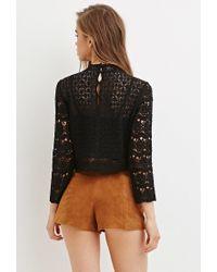 Forever 21 | Black Floral Crochet Mock Neck Top | Lyst