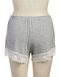 Flora Nikrooz | Gray Lace Trim Shorts | Lyst