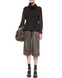 Brunello Cucinelli - Gray Cashmere-blend Tweed Culotte Pants - Lyst