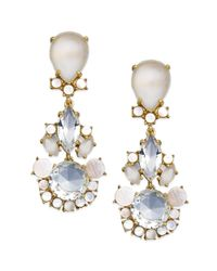 kate spade new york - Metallic New York Goldtone Crystal and Motherofpearl Drop Earrings - Lyst