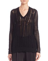 Tess Giberson - Black Open-cable Sweater - Lyst
