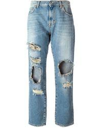MSGM | Blue Distressed Cropped Boyfriend Jeans | Lyst