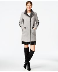 Vince Camuto - Gray Faux-leather-trim Walker Coat - Lyst