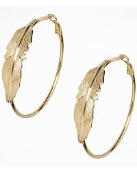 Express | Metallic Large Leaf Hoop Earrings | Lyst