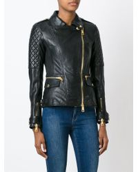 Burberry Brit - Black Quilted-Sleeve Biker Jacket - Lyst