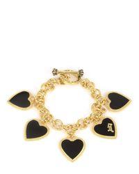 Juicy Couture | Metallic Enamel Hearts Statement Bracelet | Lyst