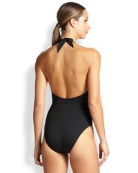 Lazul - Black One-piece Shirred Plunging Swimsuit - Lyst