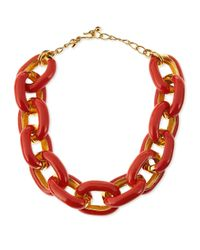 Kenneth Jay Lane | Orange Coral Enamel & Gold-plated Link Necklace | Lyst