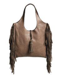 Frye | Brown 'farrah' Fringed Buffalo Leather Shoulder Bag | Lyst