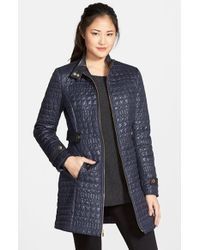 Via Spiga - Purple Faux Leather Trim Quilted Coat - Lyst