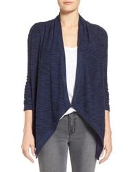 Caslon | Blue Space Dye Knit Open Front Cardigan | Lyst
