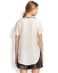 3.1 Phillip Lim - White Sequin Side-Seam Cotton & Silk Top - Lyst