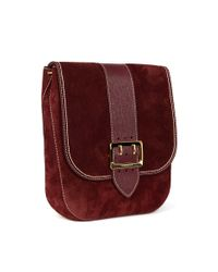 Burberry - Red Suede Satchel Bag - Lyst