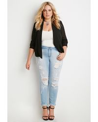 Forever 21 - Black Plus Size Chiffon Open-front Blazer - Lyst
